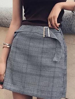 Short Buckle Strap Plaid Skirt