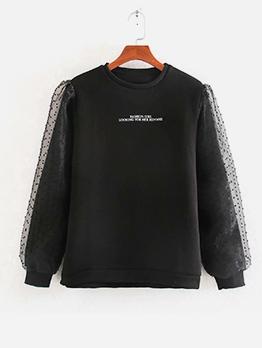Patchwork Jacquard Letter Printed Black Sweatshirt