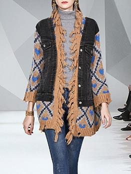 Tassel Edge Denim Patchwork Knitted Long Coat