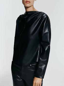 Solid Pu Long Sleeve Black Blouse