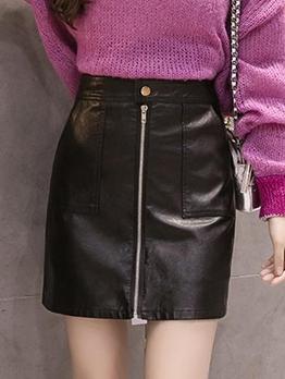 Solid Pu Zipper Up Short Skirt