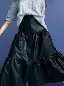 Solid Single Breasted Midi Ruffled Skirt