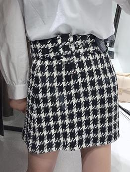 Chic A Line Short Plaid Skirt