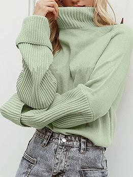 Casual Pure Color Loose Turtleneck Sweater