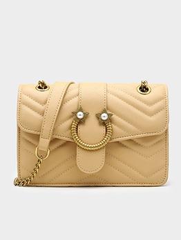 Threads Metal Decorated Golden Chain Shoulder Bag