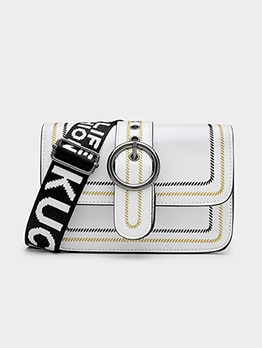 Ring Buckle Letter Wide Belt Ladies Shoulder Bags
