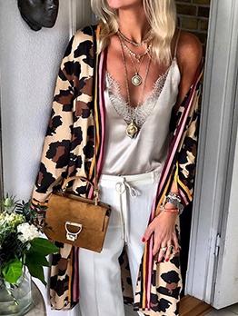 Leopard Print Long Sleeve Loose Long Coat
