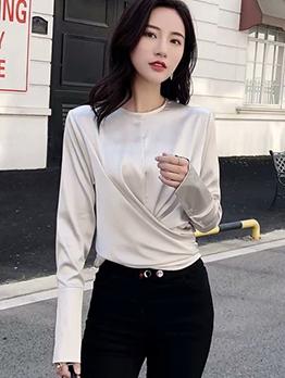 Solid Bow Tie Hem Long Sleeve Blouse