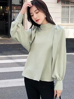 Solid Lantern Sleeve Fashion Blouse
