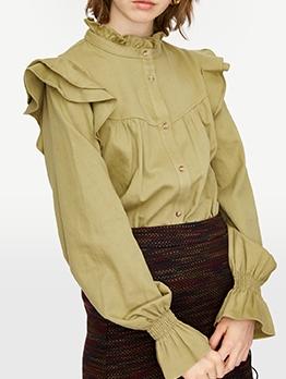 Ruffled Hem Long Sleeve Ladies Blouse