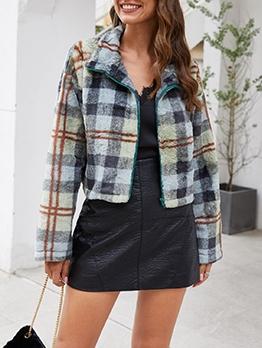 Vintage Long Sleeve Plaid Fleece Jacket