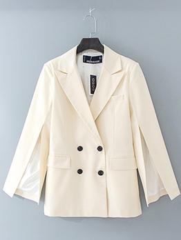 Split Sleeve Double Breasted White Blazer