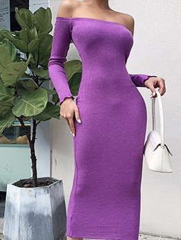 Versatile Ribbed Off The Shoulder Midi Dress