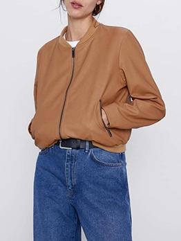 Pu Solid Zipper Pockets Jackets For Women