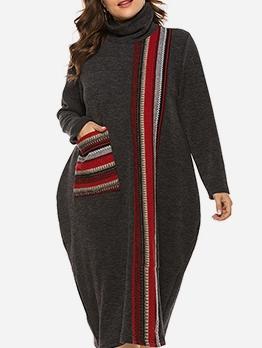 Loose Pockets High Collar Plus Size Dresses