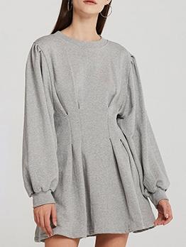 Slim Fit Crew Neck Solid Casual Dresses
