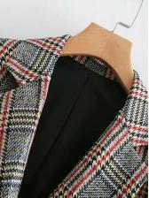 Retro Plaid Long Blazer Coat
