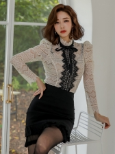 Stitching Color Lace Blouse With High Waist Black Skirt
