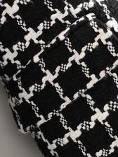 Tassel Hem Woolen Plaid Blazer