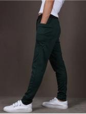 Sporty Drawstring Dual Pockets Mens Pants