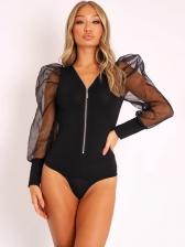 Organza Patchwork Puff Sleeve Bodysuit Blouse