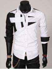 Individual Contrast Color Patchwork Men Shirt