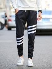 Thick Striped Drawstring Jogger Pants