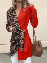 Contrast Color Leopard Print Long Blouse