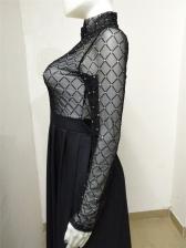 See Through Mesh Gauze Black Maxi Dress