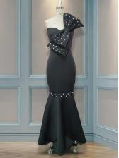 Beading Bowknot Long Black Evening Dress