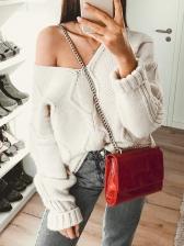 V Neck Backless White Sweater
