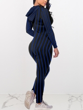 Striped Hooded Long Sleeve Skinny Jumpsuit