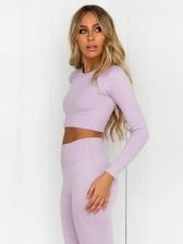 Cropped Long Sleeve High Waist Leggings Yoga Clothes