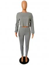 Simple Style Sport Pure Color Two Piece Pants Set