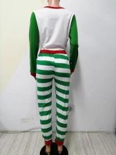 Christmas Reindeer Printed Striped Pajamas Family Set