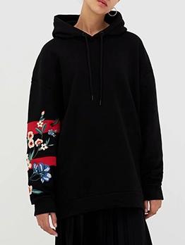 Fashion Sleeves Printed Black Cool Hoodies