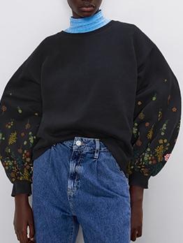 Printed Lantern Sleeve Black Sweatshirt