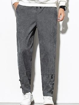 Vintage Pure Color Drawstring Corduroy Pants