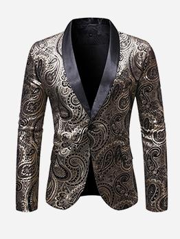 Chic Foil Printing Print Blazer Men Outerwear