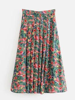 Vintage Flower Print Pleated Skirt