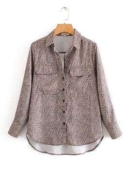 Irregular Single-Breasted Leopard Print Blouse