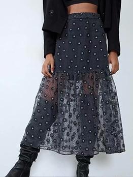 Chic Printed Gauze Black Maxi Skirt