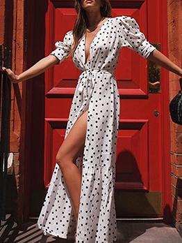 Deep v Neck Polka Dots Tie-Wrap Cardigan Maxi Dress