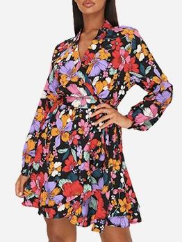 Tie-Wrap Colorful Flowers Printed Short Dress