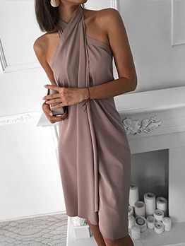 Solid Color Off The Shoulder Chiffon Halter Dress