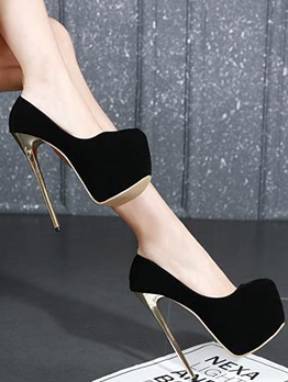 Solid Platform High Heel Shoes