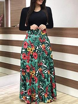 Euro Print Patchwork Long Sleeve Maxi Dress