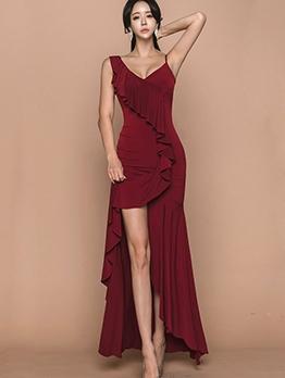 Ruffle Detail V Neck Sleeveless Split Hem Evening Dress