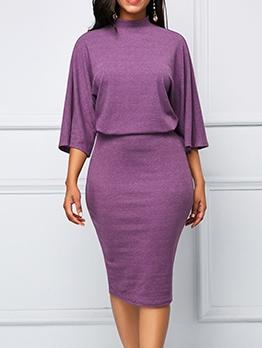 Solid Three Sleeve Quarter Sleeve Plus Size Dresses