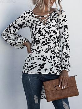 Stylish Lace Up Printed Long Sleeve Blouse
